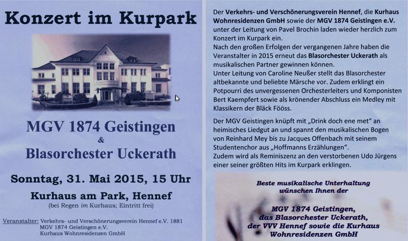 Einladung zum Kurparkkonzert 2015