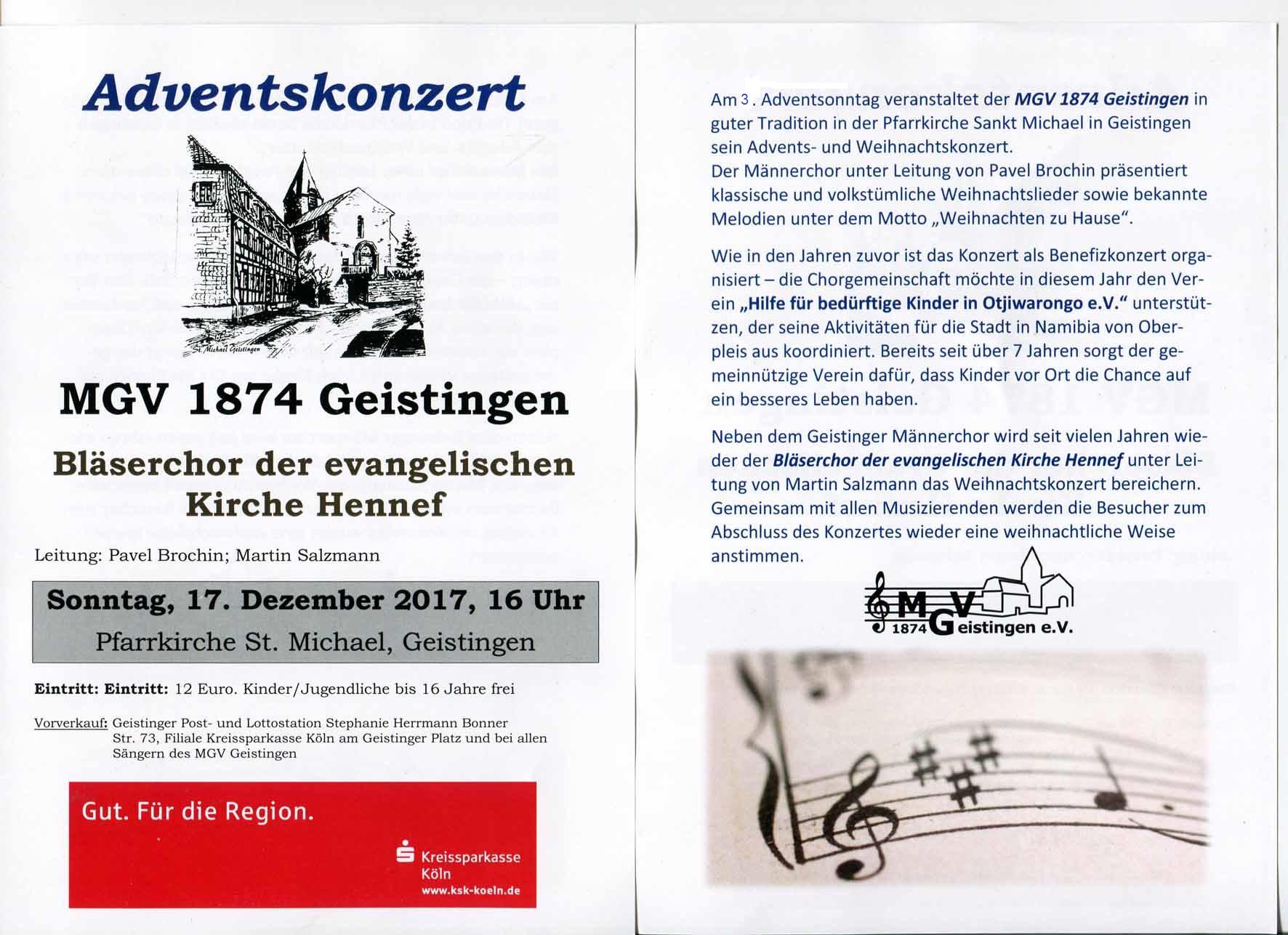 Flyer zum Adventskonzert