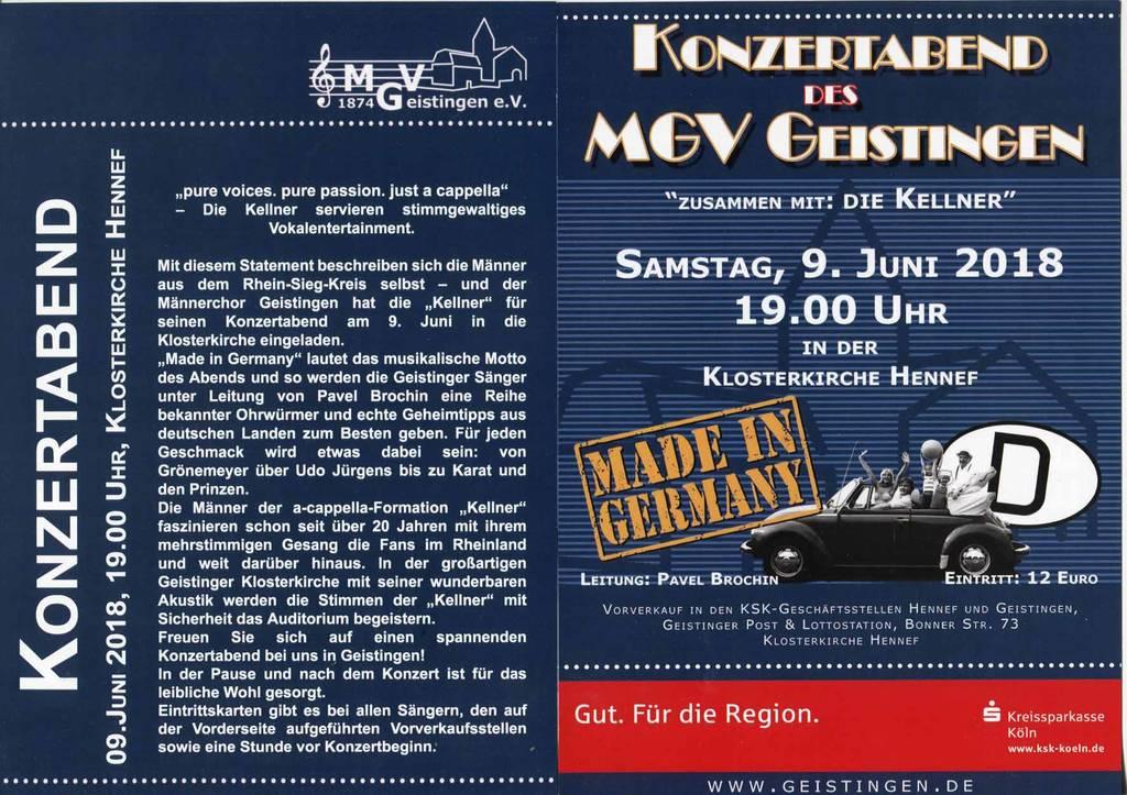 Einladung zum Konzert in der Klosterkirche Hennef