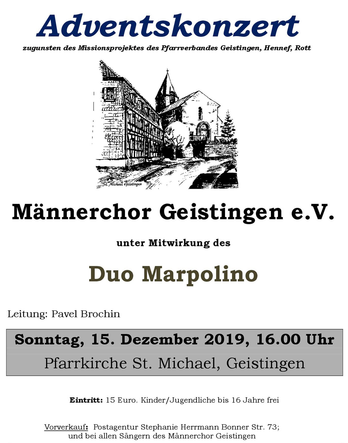 Plakat: Einladung Adventskonzert 2019 des Männerchors Geistingen e.V.